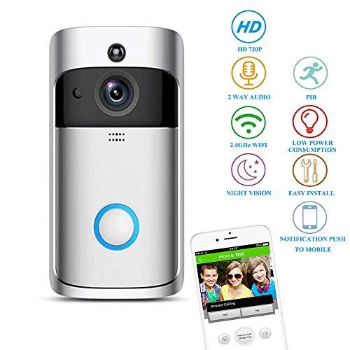 WiFi video deurbel, draadloze deurbel buiten, intelligente 720p HD veiligheidsdeurbel videocamera, bidirectionele real-time audio-overdracht, PIR bewegingsdetectie, voor iOS en Android