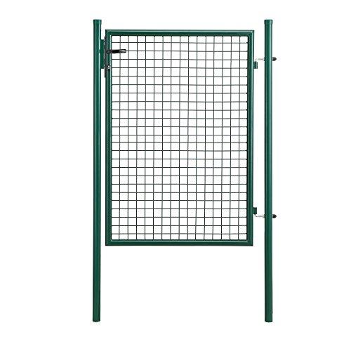 pro.tec Gartentür 125x87cm grün Gartentor Zauntür Gartenpforte Gartenzaun Tür Zaunelement 175x106x6cm