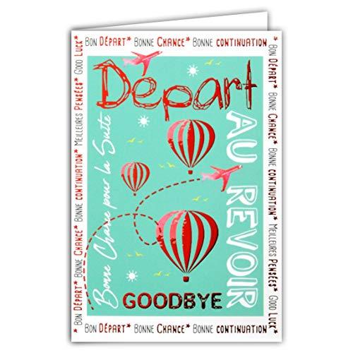 Wenskaart, rood, glanzend, Koolègue, Business, Au Rever, heteluchtballonnen, vliegtuig, goede geluk, doorgang van de weg, gelukkig, pensioen gemaakt in Frankrijk.
