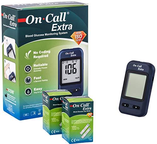 On Call Extra Super Sale Set | On Call Extra Blutzucker Messgerät + 60 On Call Extra Blutzucker Teststreifen | hochgenaues Testergebnis | ACHTUNG: Ablaufdatum der Teststreifen: 07/2020