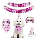 YUET - Pañuelo para Perro, Gato y Mascota, para cumpleaños, con Lazos y Gorro Adorable para niñas y niños
