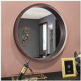 Espejo redondo con marco de madera, espejo de pared grande de cristal en color...