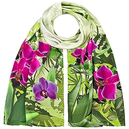 VON LILIENFELD® Scialle Seta Sciarpa Donna Accesorio Satin Arte Fiori Orchidee