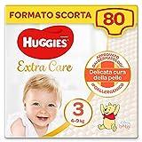 Huggies Extra Care Pannolini, Taglia 3 (4-9 Kg), Confezione da 80 Pannolini