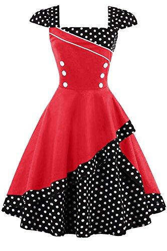 Damen 50er Jahre Vintage Rockabilly Kleid Pin up Cocktailkleid Polka Dots Partykleid Knielang- Gr. 3XL (46), Rot Schwarz