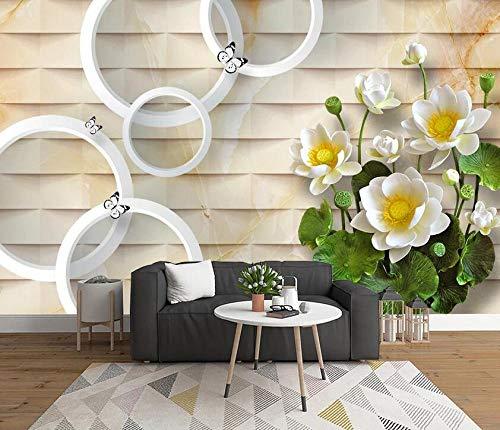 Cerchio di loto stereo 3D TV sfondo muro-350 * 245 cm