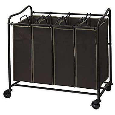 Simplehouseware 4-Bag Heavy Duty Laundry Sorter Rolling Cart, Brown