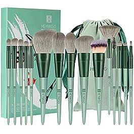 Makeup Brushes HEYMKGO 15pcs Makeup Brush Set Premium Synthetic Bristles Green Color Conical Handle Kabuki Foundation Brush Face Lip Eye Makeup Sets Professional with Portable Drawstring Flannel Bag