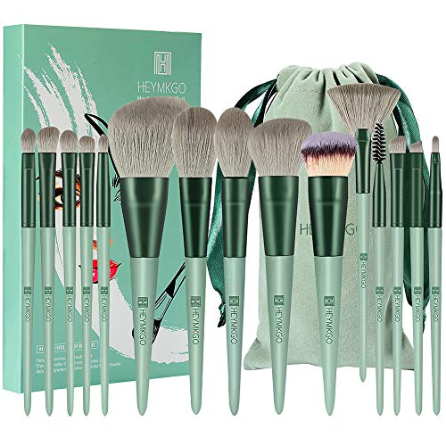 Make-up Pinsel HEYMKGO 15 Stück Premium Synthetische Borsten Grüne Farbe Konischer Griff Kabuki Foundation Pinsel Gesicht Lippen Auge Make-up Sets Professionell mit tragbarer Kordelzug Flanell Tasche