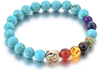REBUY® REBUY® Turquoise Stone Bracelet with 7 Root Chakra Stone and Buddha Head 8 mm Beads Reiki Healing Charm Bracelet fo...