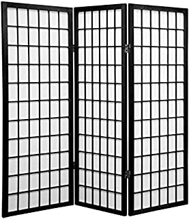 Oriental Furniture 4 ft. Tall Window Pane Shoji Screen - Black - 3 Panels