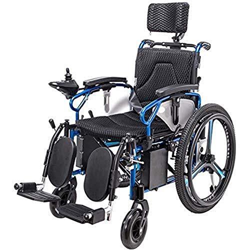 Silla de Ruedas eléctrica Plegable, Silla de ruedas eléctrica for trabajo pesado con reposacabezas, plegable y ligero silla de ruedas eléctrica, asiento Ancho 46cm, ajustable del respaldo y de
