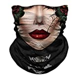 Skull Face Mask Dust Wind Sun Protection Seamless 3D Tube Mask Bandana for Men Women Durable Thin Breathable Skeleton Mask Motorcycle Riding Biker Fishing Cycling Sports Festival (Pink face)