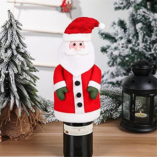 ZSDFW Cubierta de botella de vino de Navidad con tapa para botella de vino o botella de vino, para decoración de mesa, anciano