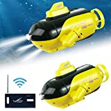 Caiyin Mini RC Submarine Toy, Radio Remote Control Boat, Electric Ship Toy, Kids Bath Toys, Underwater Submarine, Remote Control Boat Toy for Bathtub Pools Lakes