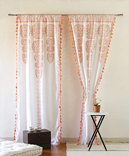 """Moroccan Medallion Floral Ombre Mandala Window Curtains Tapestry Indian Drape Balcony Room Decor Divider Sheer Wall Hanging with Pom Pom Lace (41"""" W x 87"""" L, Rose -Gold-Lace)"""