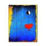 ZHJJD Joan Miro Abstracto Famoso Arte Lienzo Pintura Bailarines Corazón Amor Poster Imprimir Arte de Pared Famoso para la Salon de Estar Decoracion de la Pared Cuadros 50x70cm Sin Marco