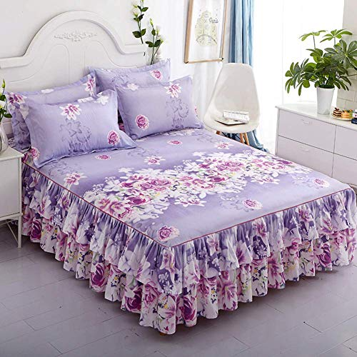 WZF Floral printed bed skirt, bedspread with flounce Elastic mattress covers Mattress cover Fitted sheet with fitted sheet Cotton-b sheet 150x200 cm (59x79 inches)