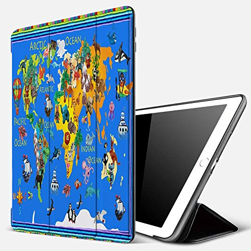 iPad 9.7 inch 2017/2018 Case/iPad Air/Air 2 Cover,World Animals plasticine Colorful Kids 3D map Geography,PU Leather Shockproof Shell Stand Smart Cover with Auto Wake