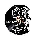 N/Z Reloj de vinilo Leyenda de Zelda reloj de pared retro nostálgico decoración del hogar reloj de pared para niños y niñas, 07