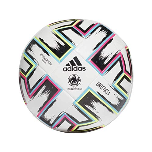 adidas Uniforia League Training Soccer Ball, White/Black/Signal Green/Bright Cyan, 4