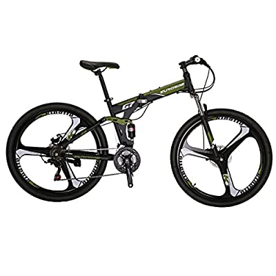 Eurobike Mountain Bike EURG7 21 Speed 27.5 Inches K Wheel Dual Suspension Folding Bike Dual Disc Brake MTB Bicycle Green
