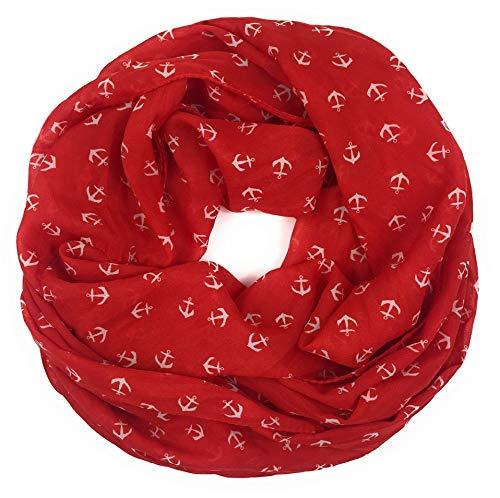 Maritimer Damen-Loop mit Ankern Schal Loop Halstuch Schlauchschal Rundschal Tuch Damen Women, Rot, 75x45 cm