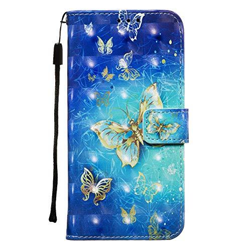 Draamvol Lederhülle für Samsung Galaxy A41 Hülle, Wallet Case Handyhülle Tasche mit Magnetverschluss, Flip 3D Schutzhülle Kartenfach Brieftasche Ledertasche für Samsung Galaxy A41,Schmetterling
