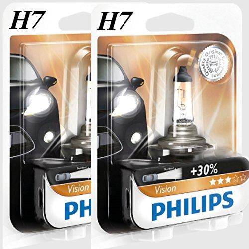 Philips H7 Vision +30{d058027531fada78747937a46205972d6c258abe13a5af22bd65d068085f432d} mehr Licht Halogen Lampen 12972PRB1, 1 Stück