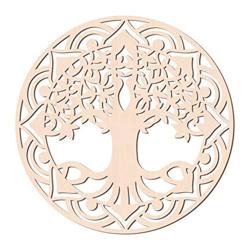 GLOBLELAND 31 CM Árbol de la Vida Arte de Pared de Madera Geometría Sagrada Decoración del Hogar Escultura de Pared de Madera Cortada con Láser para el Hogar Oficina Decoración