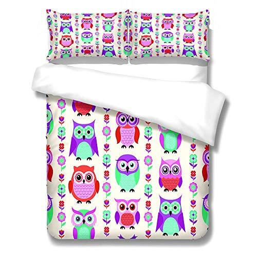 Zipper Duvet Cover Pillowcase Owl Teenagers Quilt Cover Lightweight Aether 3D Design Bedding Set Soft Quilt Cover Set With Pillowcase For Boys Girls 200X200Cm