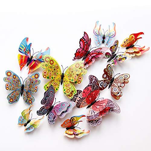Dubbele laag Vleugels Vlinder Muursticker Met Magneet En Lijm Magnetische Pvc Vlinders Voor Party Kids Thuis Decor12stks/set