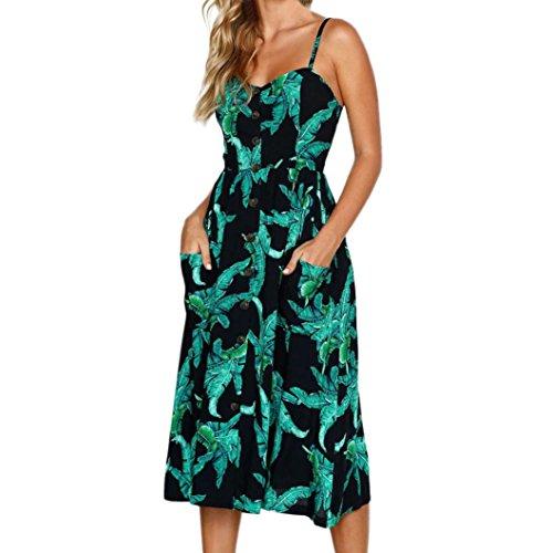 MRULIC Damen V Ausschnitt Spaghetti Buegel Blumen Sommerkleid Elegant Vintage Cocktailkleid Kleider (EU-40/CN-M, Blau)