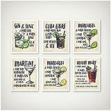 cgsmvp Cocktail Stampe d'Arte su Tela Poster Decorazioni per Cocktail Ricette per Cocktail Illustrazioni Arte Pittura Immagini per pareti Cucina Decorazioni per la casa-30x40cmx6Pcs-senza Cornice