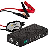 RUGGED GEEK RG1000 Safety GEN2 1000A Portable Car Jump Starter, Battery Booster Pack and Power Supply with LED Display, INTELLIBOOST Smart Cables, LED Flashlight, USB & Laptop Charging. Metal Clamps.