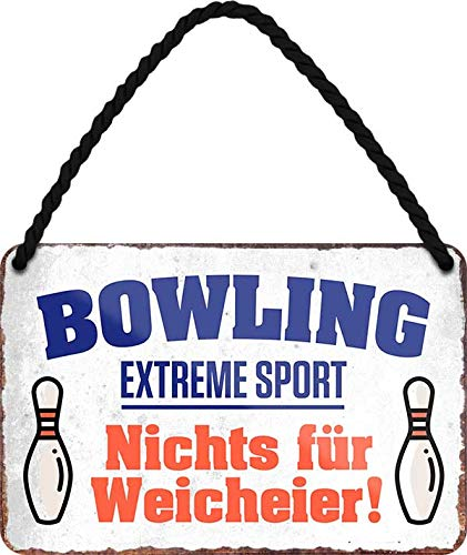 """Blechschilder lustiger Kegel Spruch: """"Bowling Extreme Sport ."""" Deko Schild Hängeschild Humor Hauseingang Tür Witziges Geschenk zum Geburtstag oder Weihnachten für alle Bowling Fans 18x12 cm"""