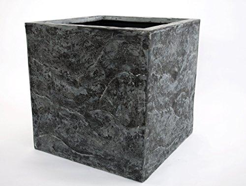 Elegant Einrichten Pflanzkübel, Blumenkübel Fiberglas Stein-Optik quadratisch 60x60x60cm anthrazit grau.