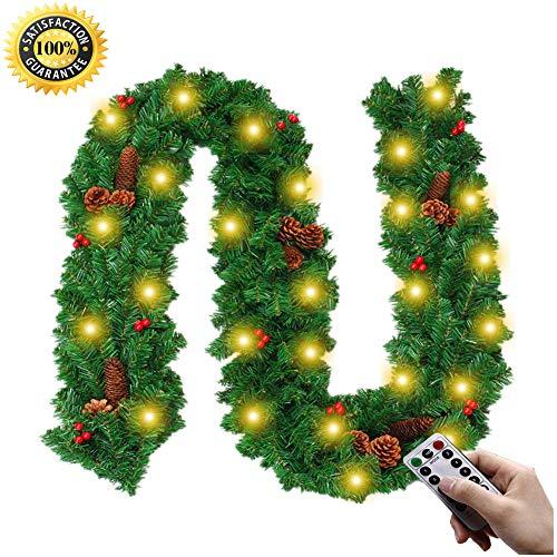 Morbuy Weihnachtsgirlande mit Beleuchtung, KieferkegelTannengirlande Remote 8Modus Lichterkette Weihnachten Dekoration 2.7 Meter für Innen und Außen Verwendbar (A-Licht)