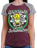 Hariz - Camiseta de béisbol para mujer, con texto 'Weltbeste Grosse Schwester Biene' Vino rojo gris jaspeado XL