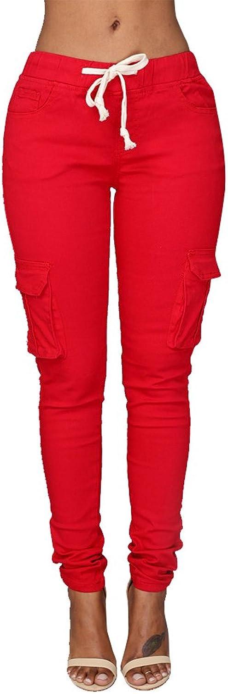 Pxmoda Womens Casual Stretch Drawstring Skinny Pants Cargo Jogger Pants