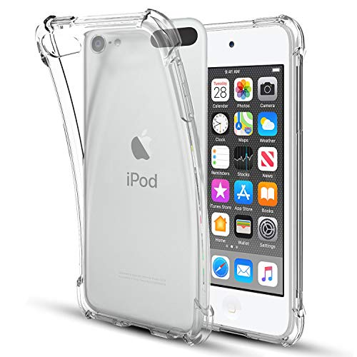 iPod Touch2019 CaseiPod Touch 7/6 / 5 CaseFourCorner Clear Soft TPU Silicone NonSlip Slim Shockproof Bumper Protective Phone Case Cover for Apple iPod Touch 7th/6th/5th GenerationClear