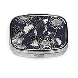 ピルボックス-カスタマイズされた鯉魚菊日本ヴィンテージピルボックス、ポータブル長方形金属銀ピルケース、コンパクト2スペース、旅行/ポケット/財布のピルケース