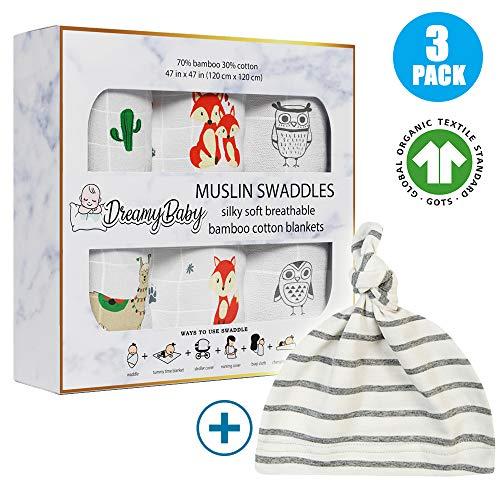 Dreamy Baby Muslin Swaddle Blankets, Receiving Blankets, Organic Cotton GOTS Bamboo Swaddle Blanket Newborn, Large Swaddle 47x47, Fox, Owl, Llama Cactus…