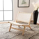 Safavieh Home Luna White and Natural Leather Woven Accent Chair