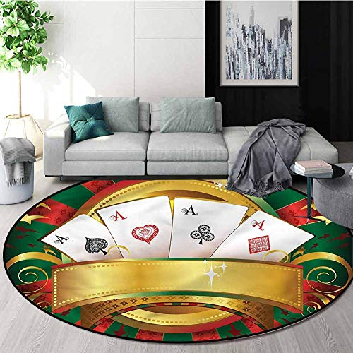 For Sale! RUGSMAT Poker Tournament Small Round Rug Carpet,Fortune Card Stack Home Decor Foor Carpet ...