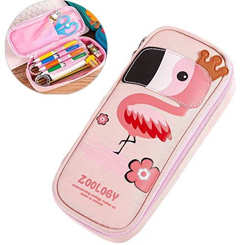 Cute Cartoon Pencil Case, Kids Animal Large Capacity Multi-Layer Pen Holder Stationery Organizer - Girls Cosmetic Pouch Bag (Bird)
