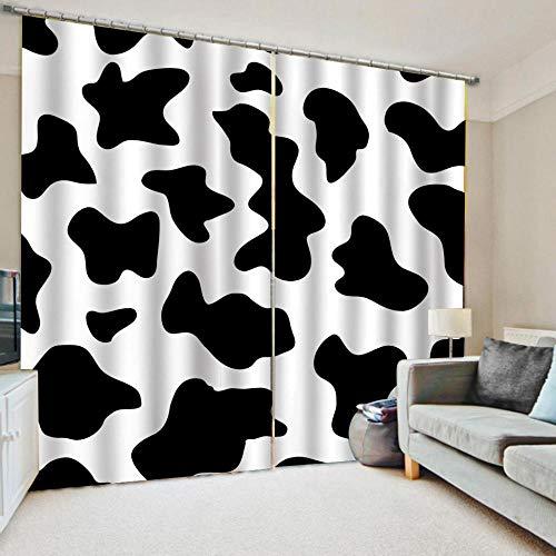 BUFUXINGMA Cortinas Opacas de Salón,Evitar Rayos UV la Luz Proteccion Privacidad,Térmica Aislante Adecuado para Balcon Salón Habitación Dormitorio Patrón de Vaca 170(W) X255(H) Cm * 2 Panel