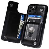 MIDOLA Wallet Case for iPhone 11 with Card Holder Cover Flip Cell Phone Money Clip Premium PU Leather Kickstand Card Slots Double Magnetic Shockproof Slim Protective Purse iPhone11 6.1 Inch Black