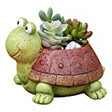 SOLOPLAY - Maceta de cultivo de dulces, macetas de resina de tortuga para plantas de animales, macetas de dibujo animado, mini decoración de mesa, oficina, jardín