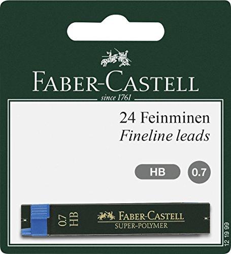 Faber-Castell 121999 - Feinmine Super Polymer, Härtegrad HB, 0.7 mm, 24 Minen